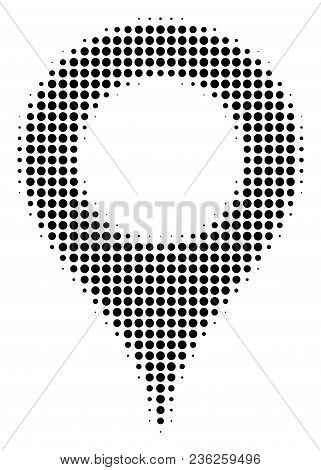 Map Marker Halftone Vector Pictogram. Illustration Style Is Dotted Iconic Map Marker Icon Symbol On