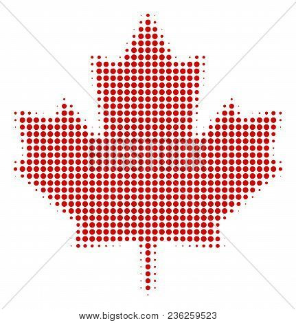 Maple Leaf Halftone Vector Pictogram. Illustration Style Is Dotted Iconic Maple Leaf Icon Symbol On