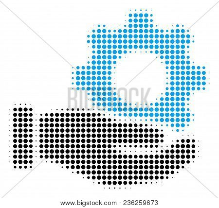 Mechanic Gear Service Hand Halftone Vector Icon. Illustration Style Is Dotted Iconic Mechanic Gear S
