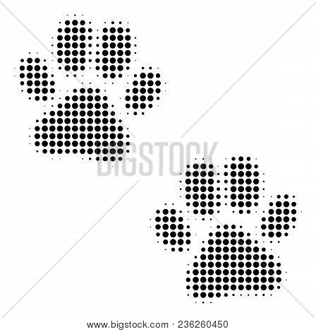 Paw Footprints Halftone Vector Pictogram. Illustration Style Is Dotted Iconic Paw Footprints Icon Sy