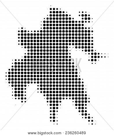 Peloponnese Half-island Map Halftone Vector Icon. Illustration Style Is Dotted Iconic Peloponnese Ha