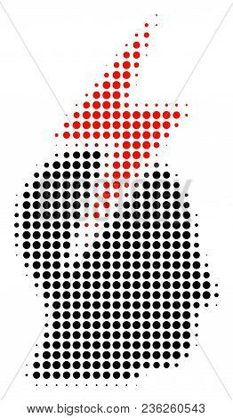 Person Stress Strike Halftone Vector Pictogram. Illustration Style Is Dotted Iconic Person Stress St