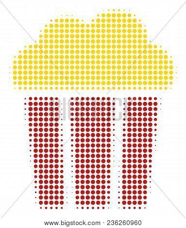 Popcorn Bucket Halftone Vector Icon. Illustration Style Is Dotted Iconic Popcorn Bucket Icon Symbol