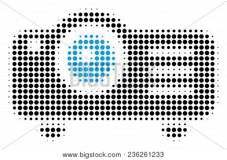 Projector Halftone Vector Pictogram. Illustration Style Is Dotted Iconic Projector Icon Symbol On A