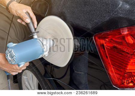 Car Body Color Polishing By Electric Drill - Black Car