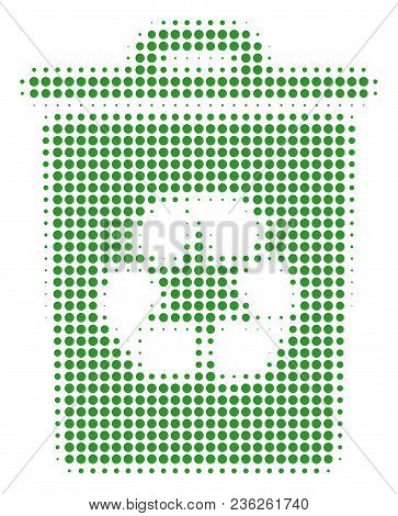 Recycle Bin Halftone Vector Icon. Illustration Style Is Dotted Iconic Recycle Bin Icon Symbol On A W