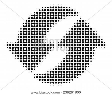 Refresh Halftone Vector Pictogram. Illustration Style Is Dotted Iconic Refresh Icon Symbol On A Whit