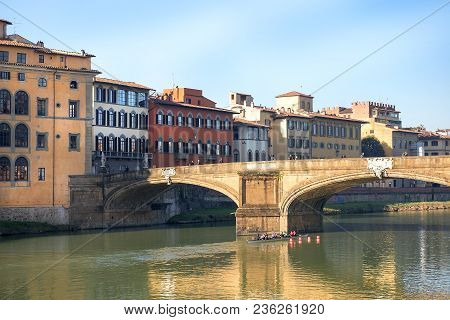 Renaissance bridge - Ponte Santa Trinita by florentine architect Bartolomeo Ammannati over the Arno River in Florence, region of Tuscany, Italy poster