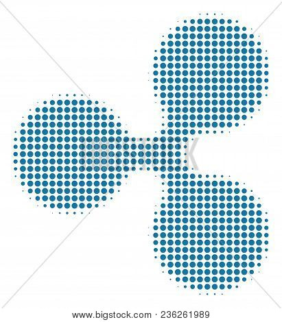 Ripple Currency Halftone Vector Icon. Illustration Style Is Dotted Iconic Ripple Currency Icon Symbo