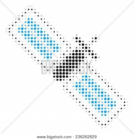 Satellite Halftone Vector Pictogram. Illustration Style Is Dotted Iconic Satellite Icon Symbol On A