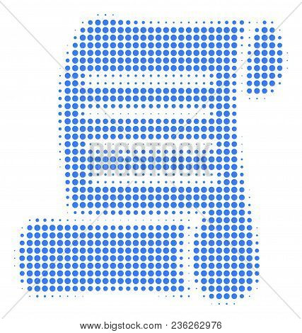 Script Roll Halftone Vector Pictogram. Illustration Style Is Dotted Iconic Script Roll Icon Symbol O