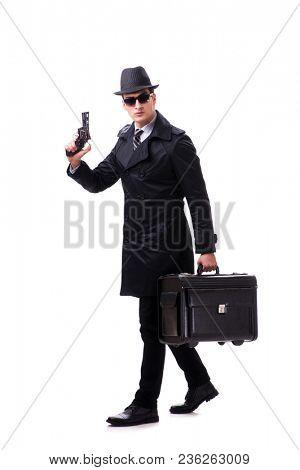 Man spy with handgun isolated on white background