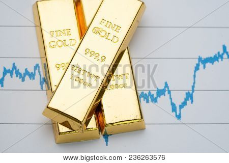 Gold Bar, Bullion Stack On Rising Price Graph As Financial Crisis Or War Safe Haven, Financial Asset