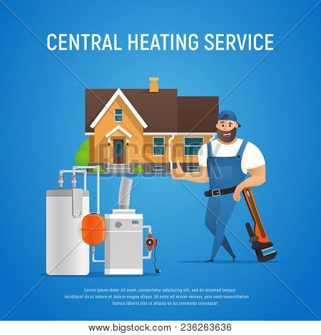 Vector Cartoon Character Plumber Central Heating Service Of House. Boiler Maintenance With Wrench. I