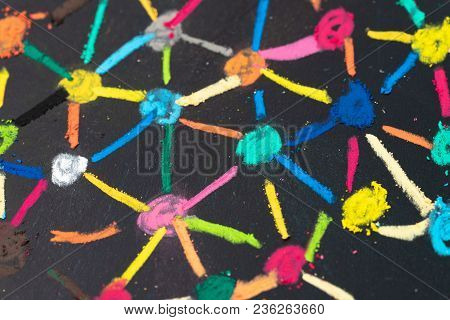 Social Network Or Decentralize Concept, Macro View Of Colorful Pastel Link And Connect Chalk Line Be