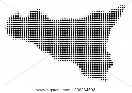 Sicilia Map Halftone Vector Pictogram. Illustration Style Is Dotted Iconic Sicilia Map Icon Symbol O