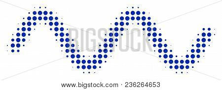 Sinusoid Wave Halftone Vector Pictogram. Illustration Style Is Dotted Iconic Sinusoid Wave Icon Symb