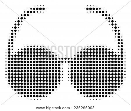 Spectacles Halftone Vector Pictogram. Illustration Style Is Dotted Iconic Spectacles Icon Symbol On