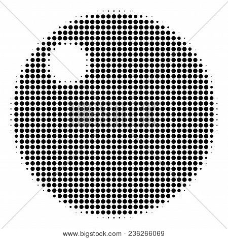 Sphere Halftone Vector Pictogram. Illustration Style Is Dotted Iconic Sphere Icon Symbol On A White