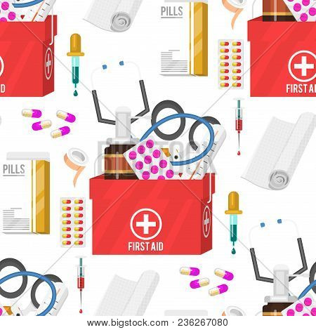 Medical Instruments And Doctor Tools Medicament Seamless Pattern Background Cartoon Style Medication