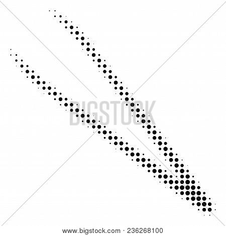 Tweezers Halftone Vector Pictogram. Illustration Style Is Dotted Iconic Tweezers Icon Symbol On A Wh