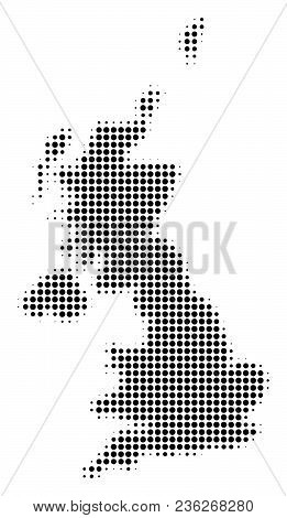 United Kingdom Map Halftone Vector Icon. Illustration Style Is Dotted Iconic United Kingdom Map Icon