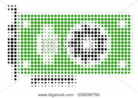 Video Gpu Card Halftone Vector Pictogram. Illustration Style Is Dotted Iconic Video Gpu Card Icon Sy