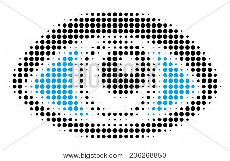 Vision Halftone Vector Pictogram. Illustration Style Is Dotted Iconic Vision Icon Symbol On A White