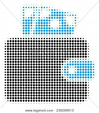 Wallet Halftone Vector Icon. Illustration Style Is Dotted Iconic Wallet Icon Symbol On A White Backg