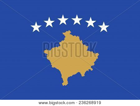 Flag Of Kosovo Official Colors And Proportions, Vector Image