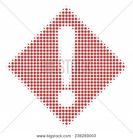 Warning Halftone Vector Pictogram. Illustration Style Is Dotted Iconic Warning Icon Symbol On A Whit