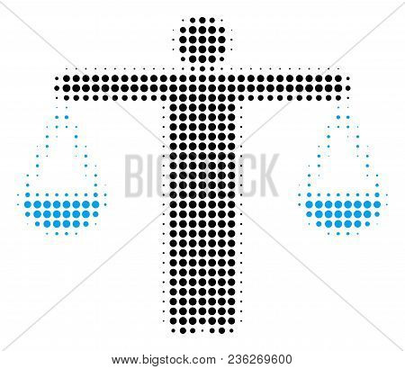 Weight Comparing Person Halftone Vector Pictogram. Illustration Style Is Dotted Iconic Weight Compar