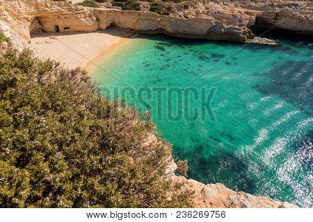 Top view of praia do Carvalho beach, Algarve Portugal