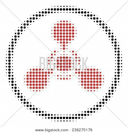 Wmd Nerve Agent Chemical Warfare Halftone Vector Pictogram. Illustration Style Is Dotted Iconic Wmd