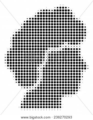 Woman Profile Halftone Vector Pictogram. Illustration Style Is Dotted Iconic Woman Profile Icon Symb
