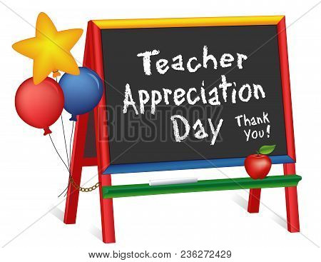 Teacher Appreciation Day, Tuesday Of First Full Week Of May, Star And Balloons, Apple For The Teache