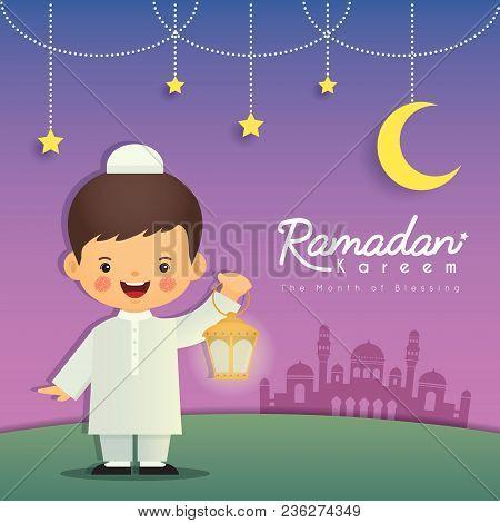 Ramadan Greeting Card. Cute Cartoon Muslim Boy Holding Lantern With Crescent Moon, Stars And Mosque
