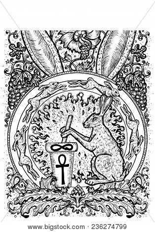Rabbit Symbol. Hare With Mortar And Pestle, Baroque And Floral Decorations. Fantasy Vector Illustrat