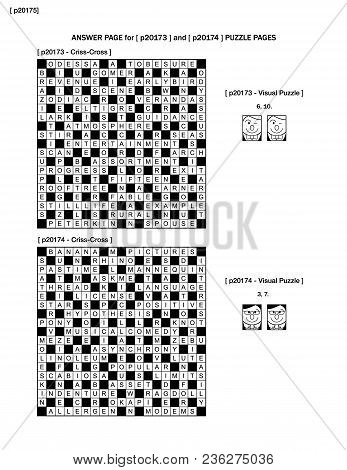 Answer Page For Previous Puzzle Pages With Two Games On Each Page: 19x19 Fill-in Crossword Puzzle An