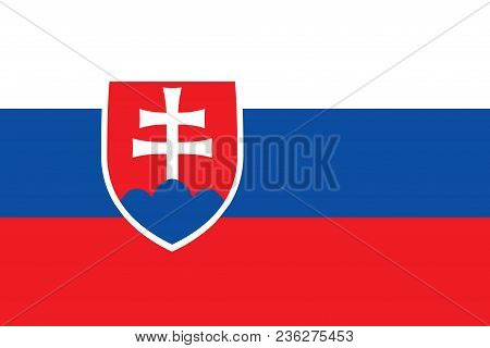 Flag Of Slovakia Official Colors And Proportions, Vector Image