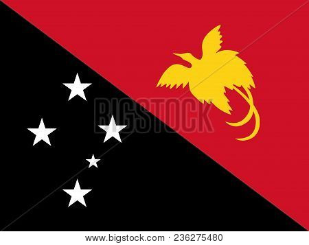 Flag Of Papua New Guinea Official Colors And Proportions, Vector Image