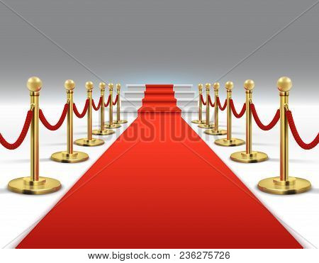 Hollywood Luxury And Elegant Red Carpet With Stairs In Perspective Vector Illustration. Red Carpet A