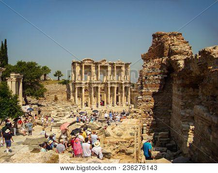 Selcuk, Turkey - June 18 2012 : Tourist Visiting Ephesus Ancient City, Near Kusadasi. Unesco World H