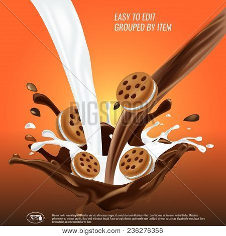 Liquid Chocolate And Milk Flow And Spash Mixed, Sandwich Cookies, 3d Vector Illustration. Easy To Ed