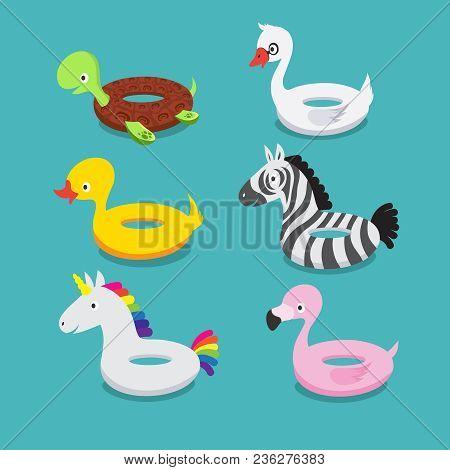 Swimming Pool Floats, Inflatable Animals Flamingo, Duck, Unicorn, Zebra, Turtle, Swan Rubber Toys Ve