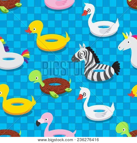 Inflatable Animal Rubber Toys In Swimming Pool. Swim Float Rings Summer Seamless Pattern Vector Illu