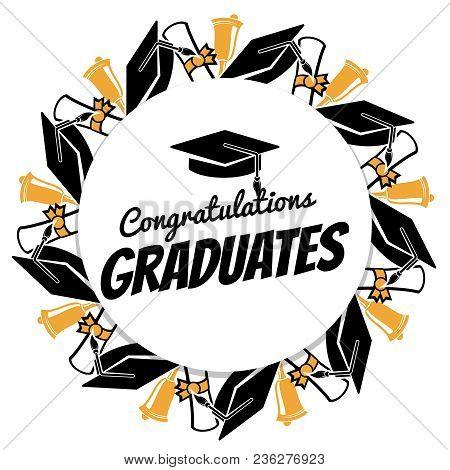 Congrats Graduates Round Banner With Students Accessorises. Graduation Celebration, Graduate Congrat