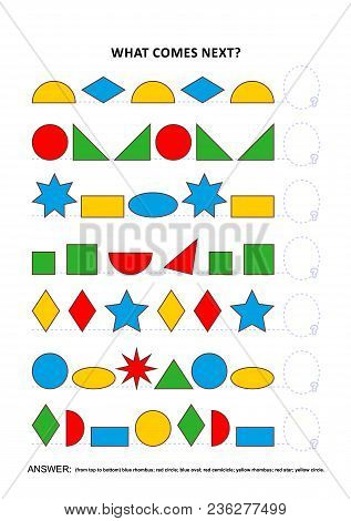 Shapes And Colors Themed Educational Logic Game Training Sequential Pattern Recognition Skills: What