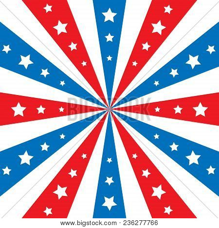 Patriotic Background With Blue And Red Rays And White Star Decorations. Vector Illustration