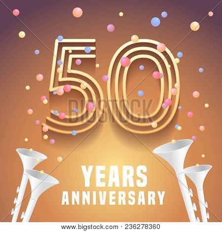 50 Years Anniversary Vector Icon, Symbol. Graphic Design Element With Festive Background And Horns F